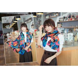 ストール レディース ヨーロッパスタイル 花柄 ネオンカラー レディース スカーフ ストール glamorous-jewel 02