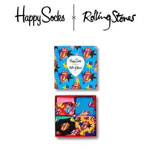 Happy Socks × The Rolling Stones ( ローリングストーンズ ) GIFT BOX 4足組 ギフトセット 子供 クルー丈 ソックス 靴下 KIDS ジュニア キッズ 12243001|glanage
