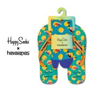 Happy Socks ハッピーソックス ANIMAL DOT SET ビーチサンダル & クルー丈 ソックス セット ユニセックス メンズ & レディス 18153001|glanage