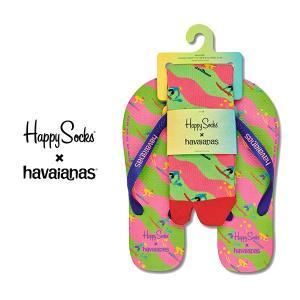 Happy Socks ハッピーソックス SPORT SET ( スポーツ セット ) ビーチサンダル & クルー丈 ソックス セット ユニセックス メンズ & レディス 18153002|glanage