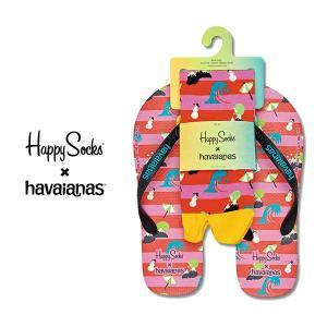 Happy Socks ハッピーソックス NATURE SET ( ネイチャー セット ) ビーチサンダル & クルー丈 ソックス セット ユニセックス メンズ & レディス 18153003|glanage