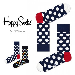 Happy Socks ハッピーソックス BIG DOT ( ビッグ ドット ) クルー丈 綿混 ソックス 靴下 ユニセックス メンズ&レディス 1A110001|glanage