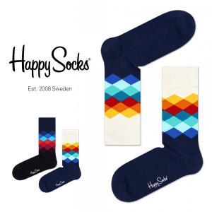Happy Socks ハッピーソックス FADED DIAMOND ( フェイディド ダイヤモンド ) クルー丈 綿混 ソックス 靴下 ユニセックス メンズ&レディス 1A110002|glanage