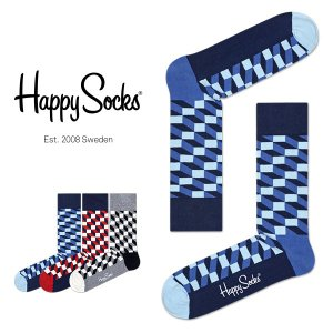 Happy Socks ハッピーソックス FILLED OPTIC ( フィルド オプティック ) クルー丈 綿混 ソックス 靴下 ユニセックス メンズ&レディス 1A110003|glanage