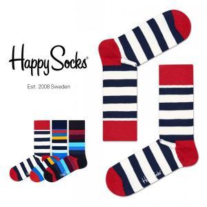 Happy Socks ハッピーソックス STRIPE ( ストライプ ) クルー丈 綿混 ソックス 靴下 ユニセックス メンズ&レディス 1A110004|glanage