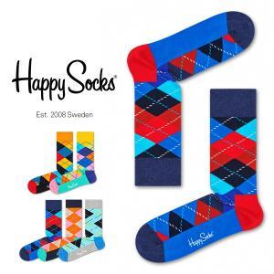 Happy Socks ハッピーソックス ARGYLE ( アーガイル ) クルー丈 綿混 ソックス 靴下 ユニセックス メンズ&レディス 1A113001 glanage