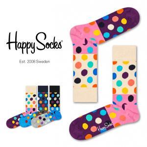Happy Socks ハッピーソックス BIG DOT BLOCK ( ビッグ ドット ブロック ) クルー丈 綿混 ソックス 靴下 ユニセックス メンズ&レディス 1A113004|glanage