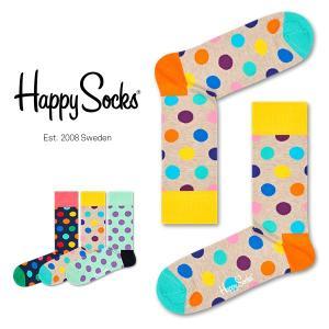 Happy Socks ハッピーソックス BIG DOT ( ビッグ ドット ) クルー丈 綿混 ソックス 靴下 ユニセックス メンズ&レディス 1A113005|glanage