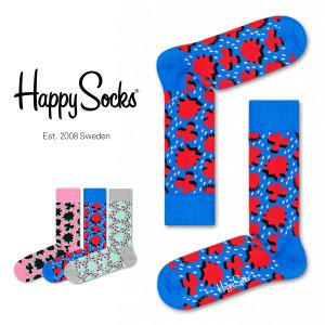 Happy Socks ハッピーソックス COMIC RELIEF ( コミック リリーフ ) クルー丈 綿混 ソックス 靴下 ユニセックス メンズ&レディス 1A113007|glanage