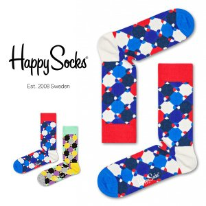 Happy Socks ハッピーソックス DIAMOND DOT ( ダイヤモンド ドット ) クルー丈 綿混 ソックス 靴下 ユニセックス メンズ&レディス 1A113008|glanage