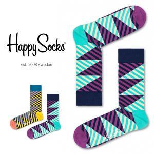 Happy Socks ハッピーソックス DIAGONAL STRIPE ( ダイアゴナル ストライプ) クルー丈 綿混 ソックス 靴下 ユニセックス メンズ&レディス 1A113009|glanage
