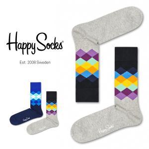 Happy Socks ハッピーソックス FADED DIAMOND ( フェイディド ダイヤモンド) クルー丈 綿混 ソックス 靴下 ユニセックス メンズ&レディス 1A113010|glanage