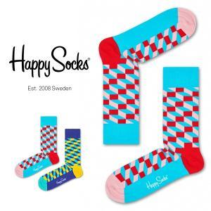 Happy Socks ハッピーソックス FILLED OPTIC ( フィルド オプティック ) クルー丈 綿混 ソックス 靴下 ユニセックス メンズ&レディス 1A113012|glanage