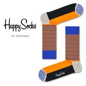 Happy Socks ハッピーソックス HALF STRIPE ( ハーフ ストライプ ) クルー丈 綿混 ソックス 靴下 ユニセックス メンズ&レディス 1A113013|glanage