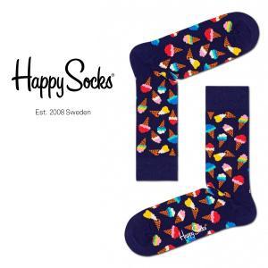 Happy Socks ハッピーソックス JUNK FOOD ICE CREAM ( アイスクリーム ) クルー丈 綿混 ソックス 靴下 ユニセックス メンズ&レディス 1A113015|glanage