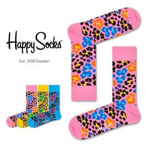 Happy Socks ハッピーソックス MULTI LEOPARD ( マルチ レオパード ) クルー丈 綿混 ソックス 靴下 ユニセックス メンズ&レディス 1A113021|glanage