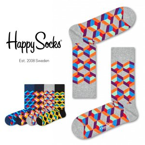 Happy Socks ハッピーソックス OPTIC SQURE ( オプティック スクエア ) クルー丈 綿混 ソックス 靴下 ユニセックス メンズ&レディス 1A113023|glanage
