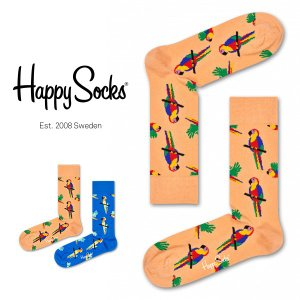 Happy Socks ハッピーソックス PARROT ( パロット ) クルー丈 綿混 ソックス 靴下 ユニセックス メンズ&レディス 1A113026|glanage