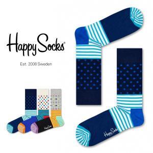Happy Socks ハッピーソックス STRIPES & DOT ( ストライプ & ドット ) クルー丈 綿混 ソックス 靴下 ユニセックス メンズ&レディス 1A113028|glanage