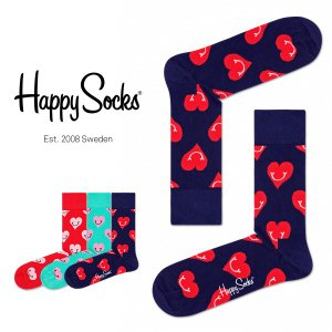 Happy Socks ハッピーソックス SMILEY HEART ( スマイリー ハート ) クルー丈 綿混 ソックス 靴下 ユニセックス メンズ&レディス 1A113029|glanage