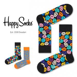 Happy Socks ハッピーソックス TWISTED SMILE ( ツイスト スマイル ) クルー丈 綿混 ソックス 靴下 ユニセックス メンズ&レディス 1A113034 glanage