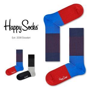 Happy Socks ハッピーソックス BLOCK RIB ( ブロック リブ ) クルー丈 綿混 ソックス 靴下 ユニセックス メンズ&レディス 1A113036|glanage