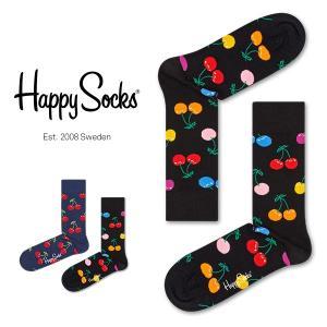 Happy Socks ハッピーソックス CHERRY ( チェリー ) クルー丈 綿混 ソックス 靴下 ユニセックス メンズ&レディス 1A113037|glanage