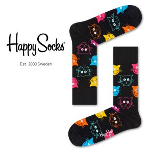 Happy Socks ハッピーソックス CAT ( キャット ) クルー丈 綿混 ソックス 靴下 ユニセックス メンズ&レディス 1A113039|glanage