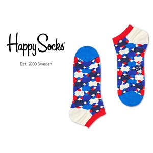 Happy Socks ハッピーソックス DIAMOND DOT ( ダイヤモンド ドット ) スニーカー丈 綿混 ソックス 靴下 ユニセックス メンズ&レディス 1A123002|glanage