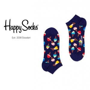 Happy Socks ハッピーソックス ICECREAM ( アイスクリーム ) スニーカー丈 綿混 ソックス 靴下 ユニセックス メンズ&レディス 1A123003|glanage