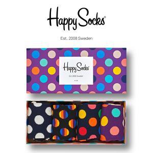 Happy Socks ハッピーソックス DOT ( ドット ) 4足組 ギフトセット 綿混 クルー丈 ソックス 靴下 GIFT BOX ユニセックス 1A143003|glanage