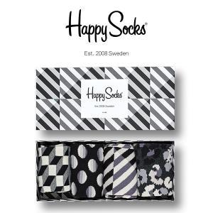 Happy Socks ハッピーソックス SEASONAL BLACK & WHITE 4足組 ギフトセット 綿混 クルー丈 ソックス 靴下 GIFT BOX ユニセックス 1A143004|glanage