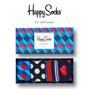 Happy Socks ハッピーソックス NAVY ( ネイビー ) 4足組 ギフトセット クルー丈 ソックス 靴下 GIFT BOX ユニセックス 1A143007|glanage