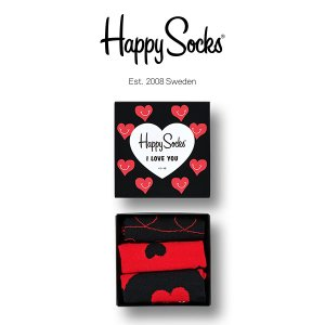 Happy Socks ハッピーソックス I LOVE YOU ( アイラブユー ) 3足組 ギフトセット 綿混 クルー丈 ソックス 靴下 GIFT BOX ユニセックス 1A443003|glanage