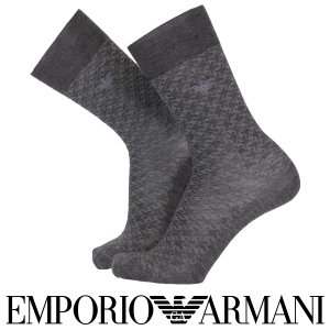 EMPORIO ARMANI エンポリオ アルマーニ 毛混 メンズ ソックス 靴下 抗菌防臭 リンクス柄 クルー丈 ビジネス ソックス ポイント10倍|glanage