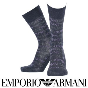 EMPORIO ARMANI エンポリオ アルマーニ 綿混 メンズ 靴下 総ロゴ柄 クルー丈 カジュアル ソックス  ポイント10倍|glanage