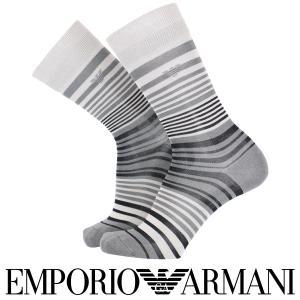 EMPORIO ARMANI エンポリオ アルマーニ 綿混 メンズ カジュアル 靴下 ボーダー柄 クルー丈 カジュアル ソックス ポイント10倍|glanage