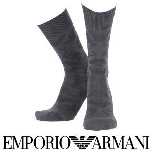 EMPORIO ARMANI エンポリオ アルマーニ メンズ ソックス 靴下 ロゴリンクス柄 クルー丈 カジュアル ソックス ポイント10倍|glanage