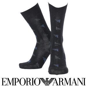 EMPORIO ARMANI エンポリオ アルマーニ 綿混 メンズ ソックス 靴下 イーグルドット柄 クルー丈 カジュアルソックス ポイント10倍|glanage