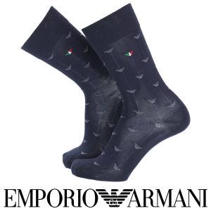 EMPORIO ARMANI エンポリオ アルマーニ 綿混 メンズ ソックス 靴下 トリコイーグル クルー丈 カジュアルソックス ポイント10倍|glanage