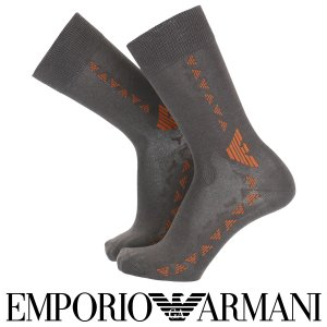 EMPORIO ARMANI エンポリオ アルマーニ 綿混 メンズ ソックス 靴下 イーグルカット柄 クルー丈 カジュアル ソックス ポイント10倍|glanage