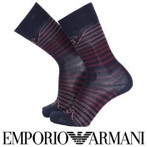 EMPORIO ARMANI エンポリオ アルマーニ 綿混 メンズ ソックス 靴下 ボーダーイーグル クルー丈 カジュアル ソックス ポイント10倍|glanage