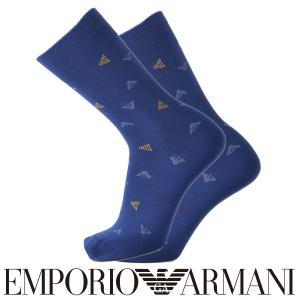 EMPORIO ARMANI エンポリオ アルマーニ カジュアル カジュアル イーグルドット柄 スーピマ綿使用 クルー丈 メンズ 紳士 ソックス 靴下 ポイント10倍|glanage