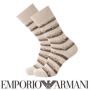 EMPORIO ARMANI エンポリオ アルマーニ カジュアル EAロゴボーダー スーピマ綿使用 クルー丈 メンズ 紳士 ソックス 靴下 ポイント10倍|glanage