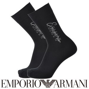 EMPORIO ARMANI エンポリオ アルマーニ カジュアル EA筆記体ロゴ スーピマ綿使用 クルー丈 メンズ 紳士 ソックス 靴下 ポイント10倍|glanage