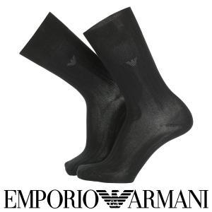 EMPORIO ARMANI メンズ ソックス 靴下 リブ ロゴ刺繍 クルー丈 ソックス 2342-500 全品ポイント10倍|glanage