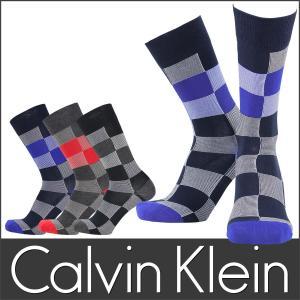 Calvin Klein カルバンクライン メンズ カジュアル ソックス ブロックチェック クルー丈 ソックス 靴下 ポイント10倍|glanage