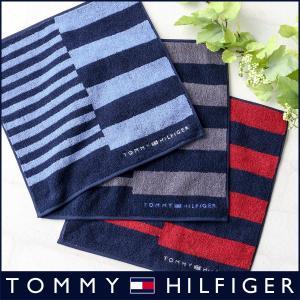 TOMMY HILFIGER トミーヒルフィガー アンシンメトリー ボーダー柄 タオル ハンカチ ポイント10倍|glanage