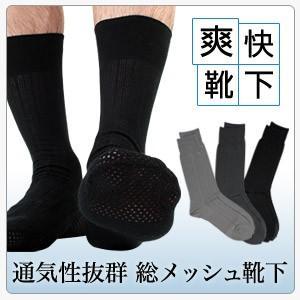 足もと涼しい・ムレ予防 クールビズ 総メッシュ無地 日本製 メンズ 夏用 ビジネス ソックス 靴下 2912-001 ポイント10倍|glanage