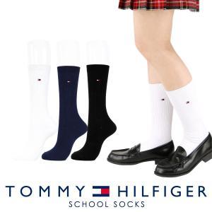 TOMMY HILFIGER トミーヒルフィガー スクールソックス ワンポイント 刺繍 28cm丈 レディス ハイソックス 靴下 3481-410 ポイント10倍|glanage